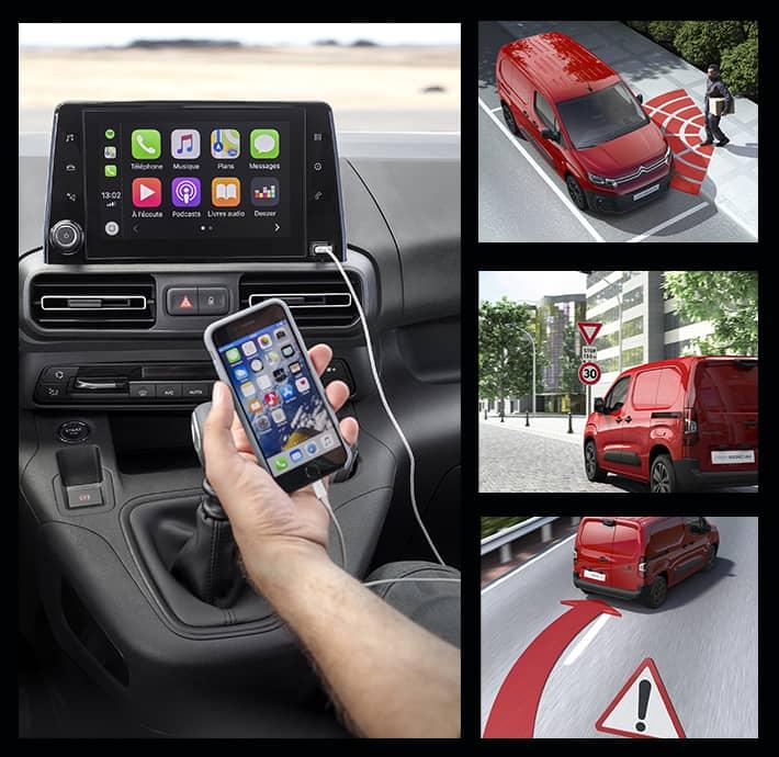aides à la conduite et connectivité disponible sur l'utilitaire professionnel Citroën Berlingo Van en Drôme et en Ardèche